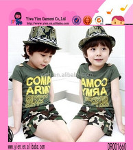 Summer New Style Army Green Jacket Plus Mini Short Pants New Design Kids Suits