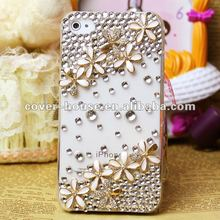 Bling Rhinestones 3D Flower phone case for iPhone 4/ 4S