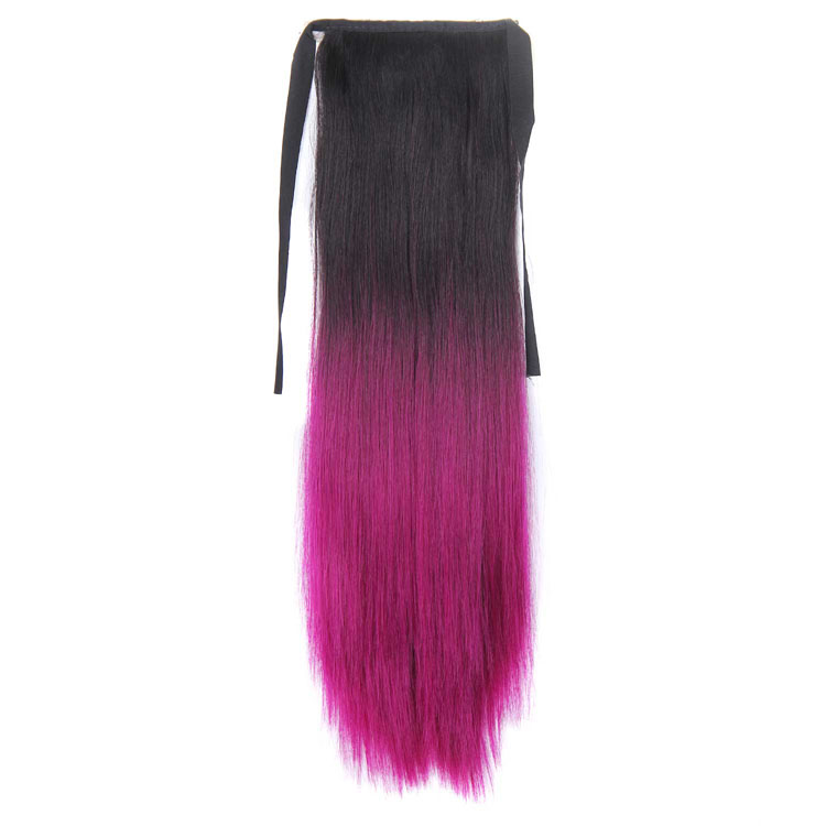 Fashion Design New Ombre Color Dark Brown and Purple Heat Resistant Fiber Synthetic Straight Hair Drawstring Ponytail Hairpieces