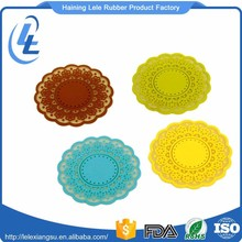 Custom printing colorful lace design flat coffee silicone hot pot mat