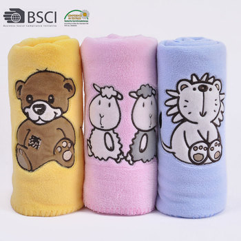Wholesale China Embroidered Printed Plush Coral Fleece Baby Blanket