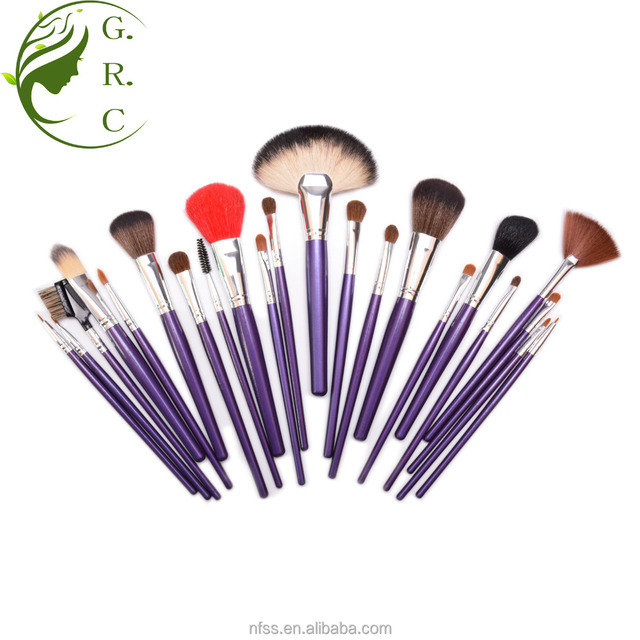 fashion professional pink 24 pcs synthetic hair makeup brush set with purple wooden handle