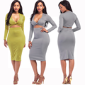 lx10190a hot sale women night dress sexy bodycon dress long sleeve woman clothing