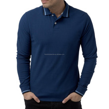 High Quality Men's Long Sleeve 100% Combed Cotton Polo T Shirt Men