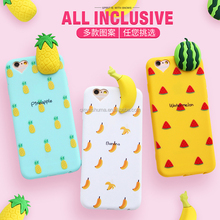 OEM and ODM 3D popular silicone fruit banana cute pattern cell phone case for girl for iPhone 6 6s 6plus