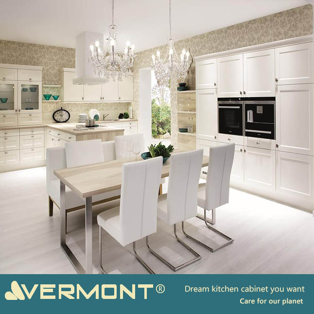 2018 New Model American Bespoke Classic Design Custom Solid Wood White Shaker Style Modular Kitchen Cabinet