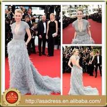 CN10 Latest Naomi Watts Celebrity Dress Feather Open Back Beading Evening Party Dresses