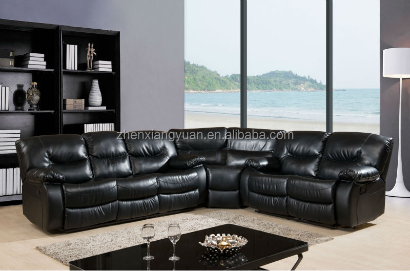 2016 Living Room Furniture Corner Bonded Leather Sofa Reclining Sectional Sof