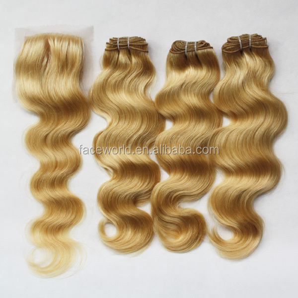 Factory hair wholesale top quality human hair extension top quality golden yellow hair color