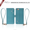 Alibaba hot selling Carrying Strap PU Leather Flip case for iphone 6s with Card Slots Cash Compartment