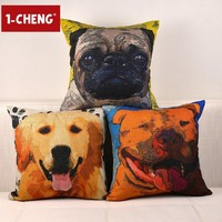 Creative Oil Painting Style Puppy Dog Pillow Home Decorative Cushion Cover