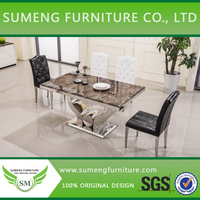 Dubai marble top stainless steel leg dining room table and chairs designs