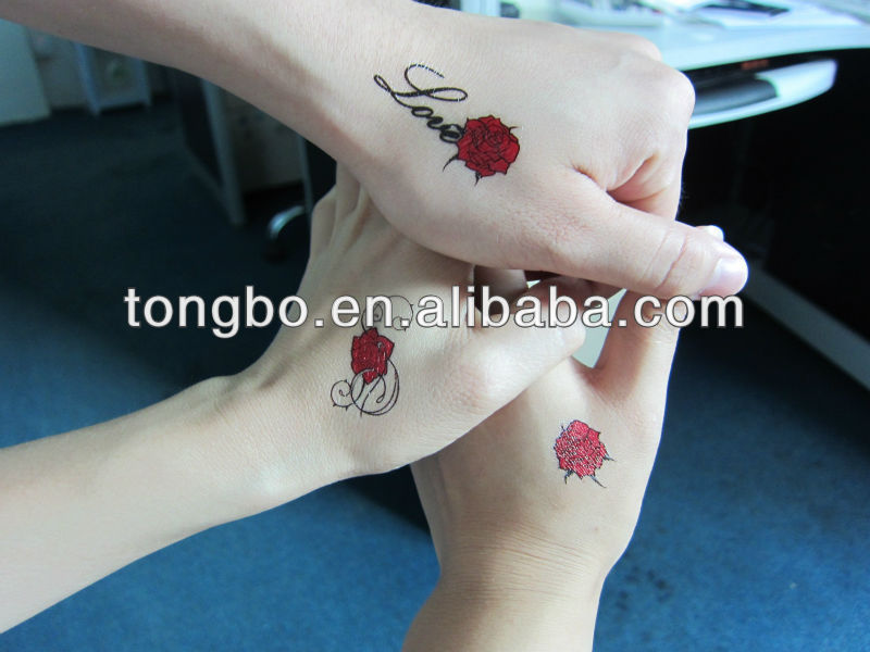 Temporary Water Trasfer words love red rose tattoo sticker