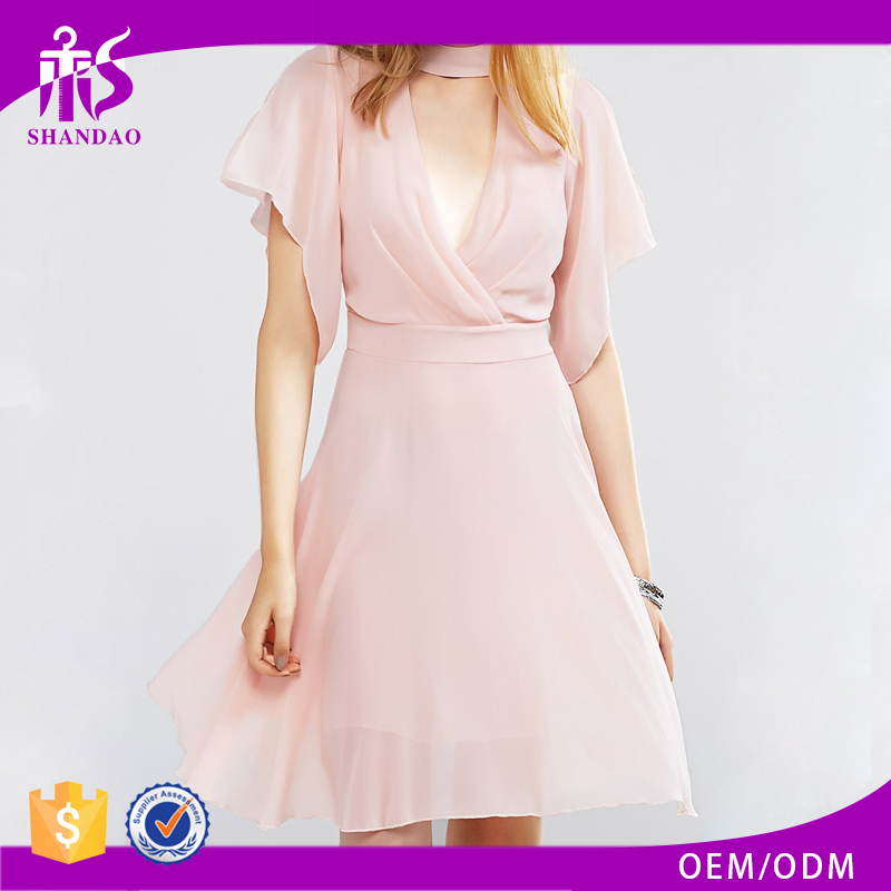China Shandao New Arrivals Plunging Neck Choker Short Sleeve Knee Length Loose Design Pink Dress