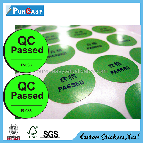 Waterpoof customized QC passed sticker