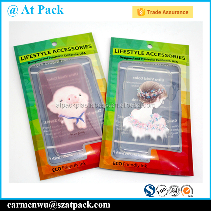 Custom printed resealable phone case packaging bags with window