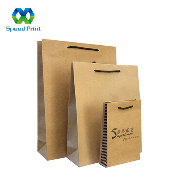 Import from china promotion craft kraft gift paper bag with <strong>black</strong> cotton rope