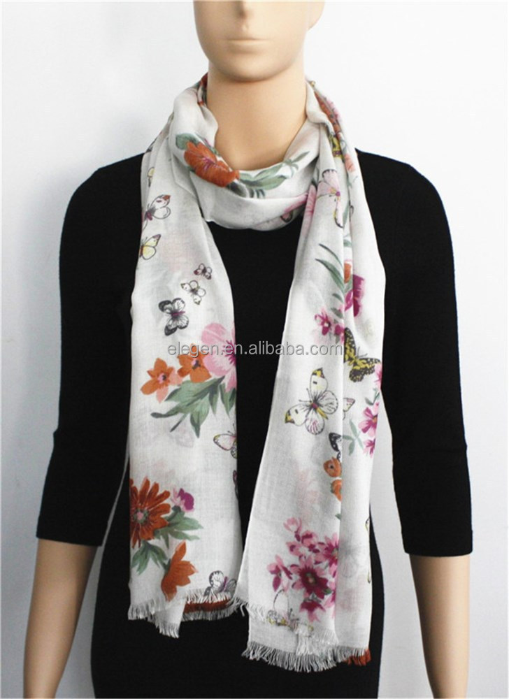 Butterfly and Flower Printed Wool Scarf with fringe