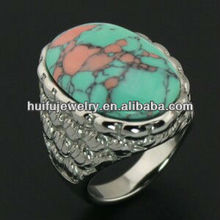 fashion 316L stainless steel jewelries turquoise wedding rings set simple turquoise ring turquoise ring