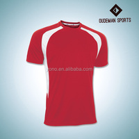 O-neck red color custom soccer jersey at factory price