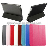 High quality Trifolding Stand Leather Case For iPad4/3/2 , cover for apple ipad