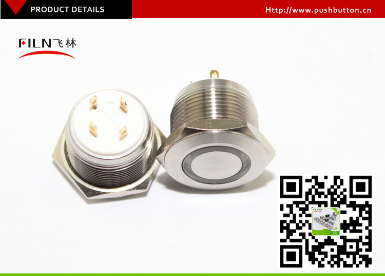 Short length 19mm dia stainless steel white 48V LED light momentary 1no push button switch