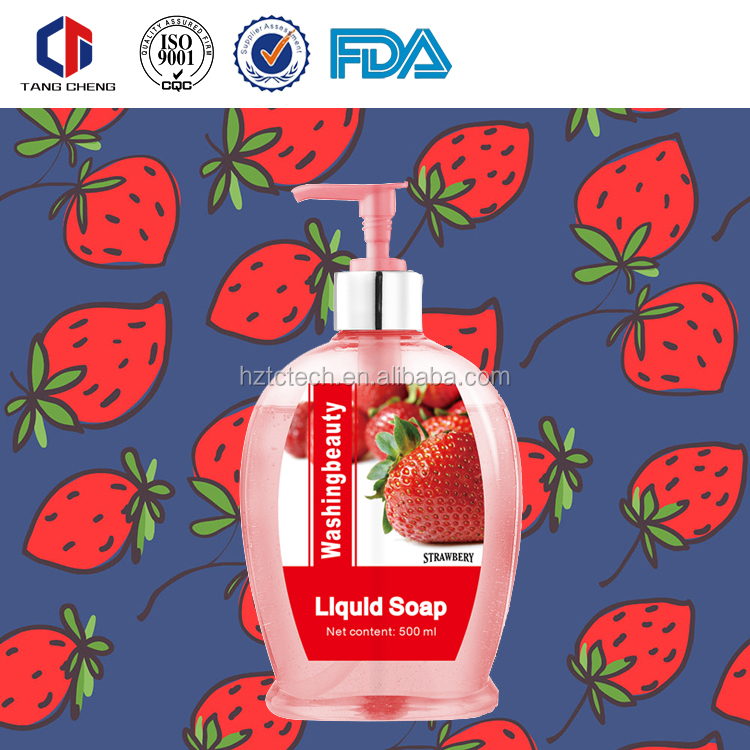 500ml High Quality Washing Beauty Cute Pink Bottle Extra Energisant Strawberry Liquid Soap