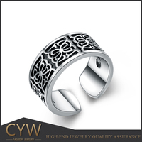 CYW 17mm China products alibaba express tai silver black men ring oxidized 925 sterling silver rings
