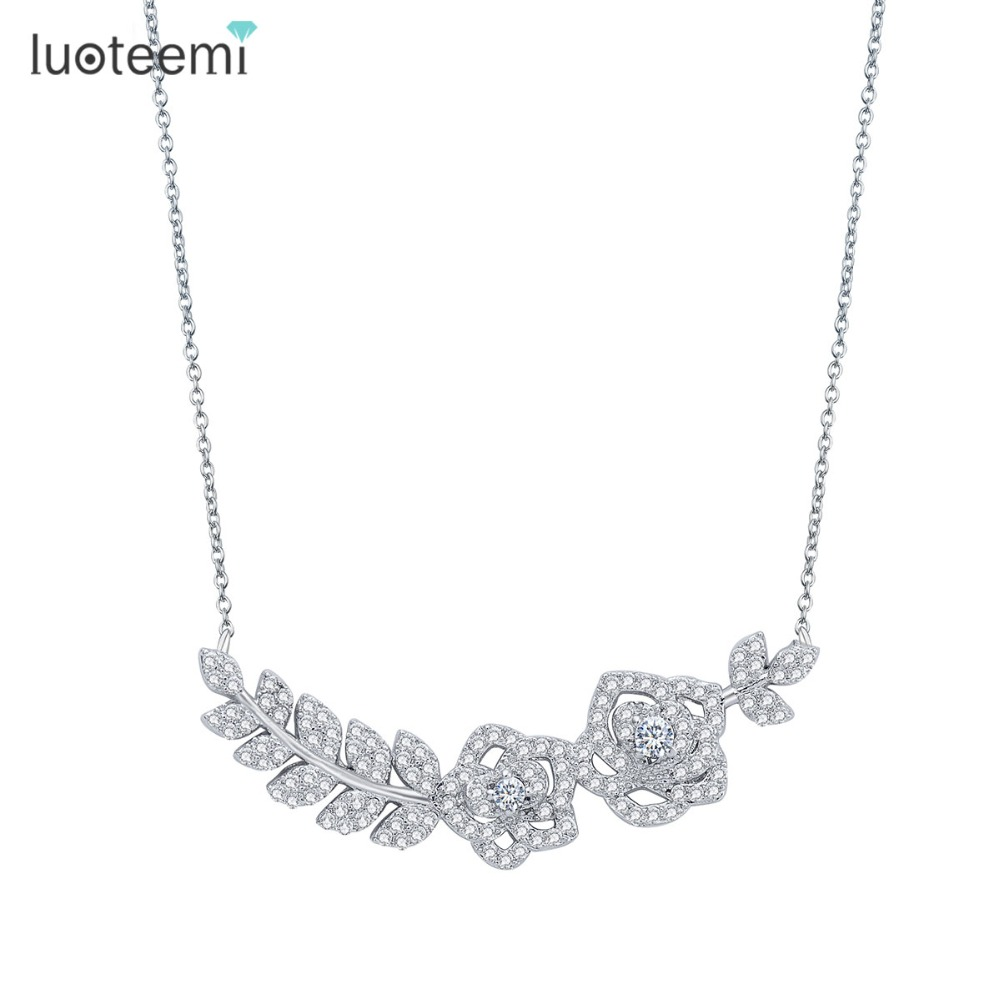 LUOTEEMI 2016 Korea Women White Gold Plated Jewelry Fashion AAA Cubic Zirconia Romantic Roses Choker Necklace