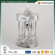 Wholesales Custom made Carousal horse Plain Silver Plated Hand crank Music box for gift