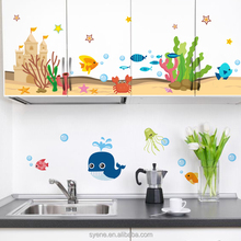 Syene 3d under seaworld fish shark anime sticker vinyl decal kitchen room removable vinyl window decorative mirror decals