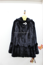 Black Mink Fur Overcoat with Cap Real Mink Fur Coat