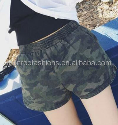 monroo 2018 summer women's shorts camouflage shorts