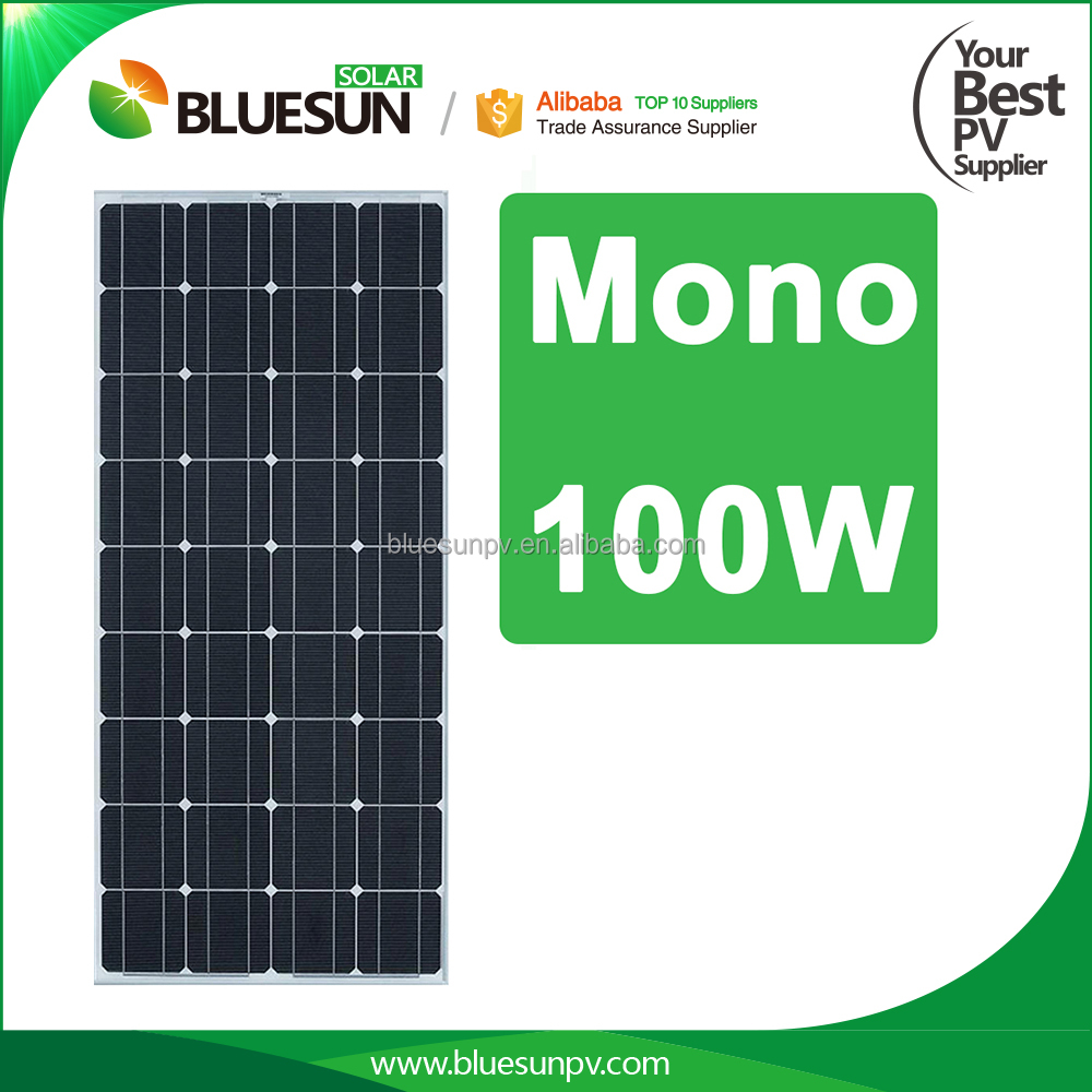 Bluesun A-grade high efficiency photovoltaic solar module 100w price cheap for home use
