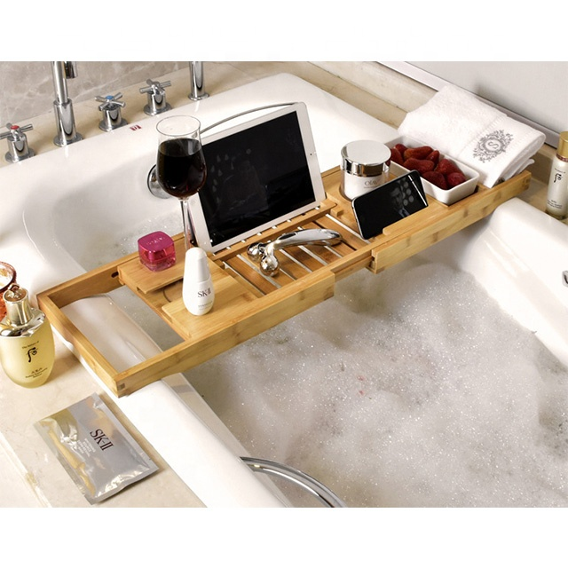 Extendable bamboo bathtub caddy with removable soap dish