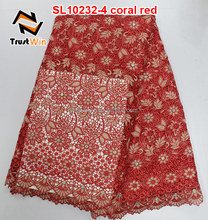 african cord lace / High quality guipure lace / Nigeria coral lace fabric for lace wedding dresses 2016