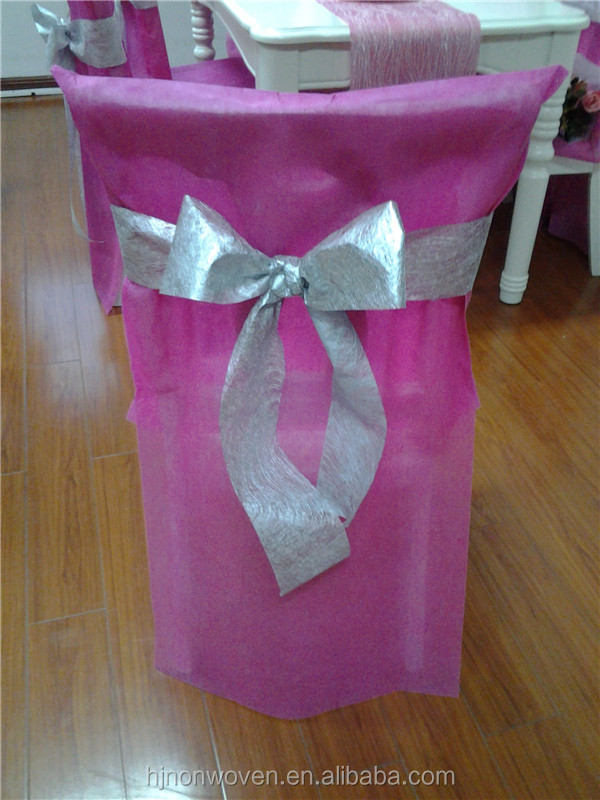 Home Decor Wholesale Chair Cover With Metallic Bow Tie