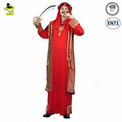 Adult Arab Pilgrim Robe Costume Arabian Prince&King Cosplay Men Party Performance Show Fancy Dress With Deluxe Long Robe