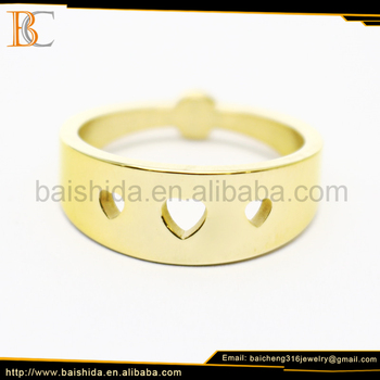 heart shaped gold rings jewelry women factory sales directly