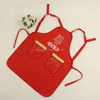 Hot sale eco friendly 100% cotton apron with two front pockets for kitchen and garden use