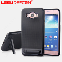 Shockproof slim armor back cover carbon fiber case with kickstand for samsung galaxy j7