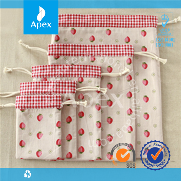 Market price Cute Strawberry Drawstring Bags