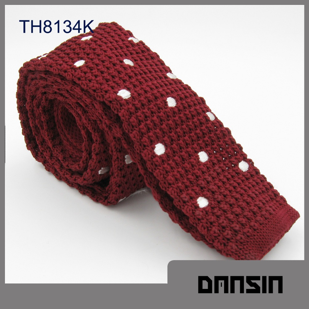 New Arrival High Quality Polyester Burgundy Knit Tie