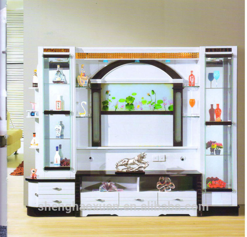 Guangdong furniture factory directly sale modern tv wall for Lcd wall unit designs for hall
