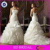 2015 New Arrival Mermaid Strapless Ruffle Organza Wedding Dress With Ribbon