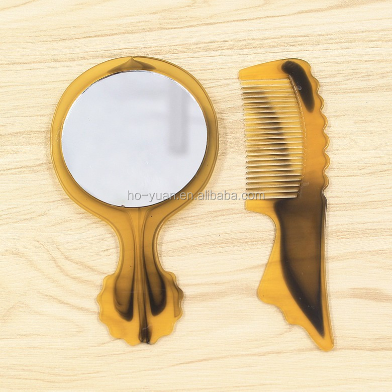 Plastic round mirror comb set customized make up mirror hairbrush set