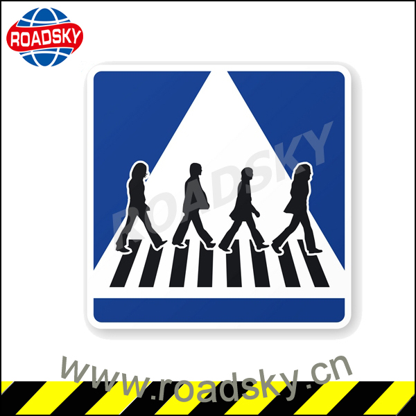 Reflective Rectangle Blue Aluminum Road Signs For Pedestrians