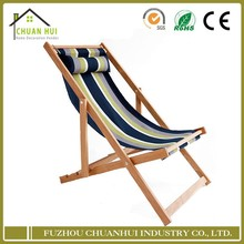 Wholesale stripe pattern wooden fold deck chair canvas
