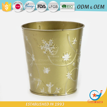 Wholesale powder coated metal homeware embossing outdoor flowers in pots wholesale metal pots face flower pot