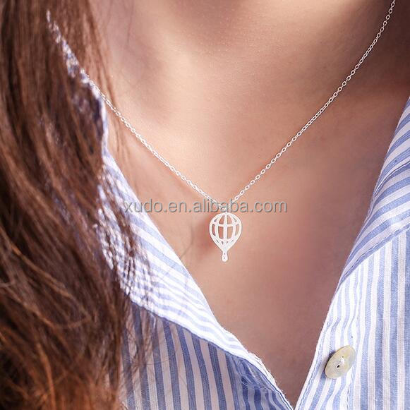 free shipping simple silver hot air balloon shaped pendant <strong>necklace</strong>
